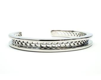 Hair Tie Bracelet, Hair Tie Bracelet Holder, Hair Tie Bracelet Cuff - Laurel Design Silver