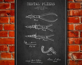 1903 Dental Pliers Canvas Art Print, Wall Art, Home Decor, Gift Idea