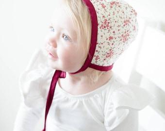 Cherry Blossom Bonnet   Baby Bonnet   Sun Bonnet   Boutique Baby Bonnet   Baby Shower Gift