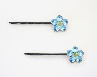 Crystal Cute Single Flower Bobby Pin PAIR Hair Clip Accessory Black Tone Light Green AB Aquamarine