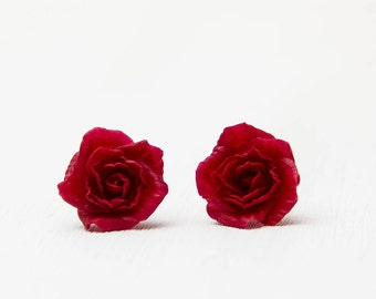 Red stud earrings Gardening earrings Red Jewelry Earrings floral polymer clay Stud earrings Red rose earrings polymer clay roses Jewelry