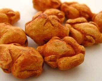 10 Tiny Roast Chicken Beads - CB681