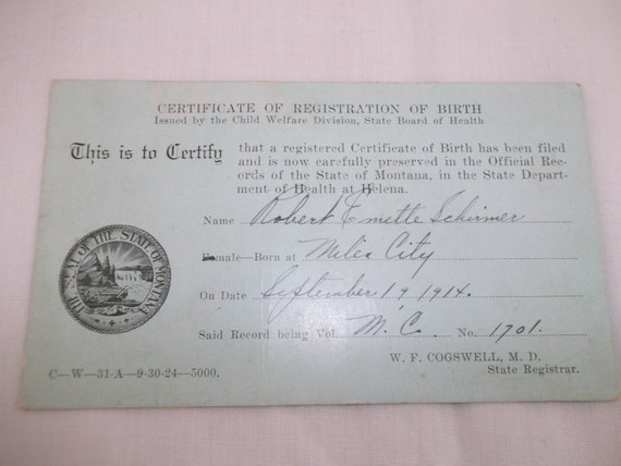 Private Mailing Card Montana Birth Registry 1914