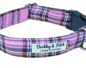 Pink Tartan Check Dog Collar