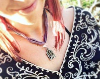 Rose Quartz Crystal Necklace - Shiva Charm Necklace - Shiva Om Pendant - Meditation Jewelry - Yoga Fashion - Aum Charm from India