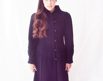 80s puff sleeve wool coat / navy wool coat / princess coat /  xs, s