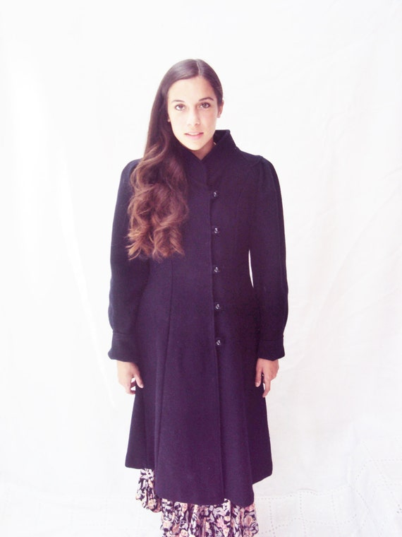 80s puff sleeve wool coat / navy wool coat / princess coat /  xs, s