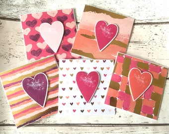 x4 Handmade Simple Foiled Heart Valentines, Thank you, Black Cards for Family/Friends