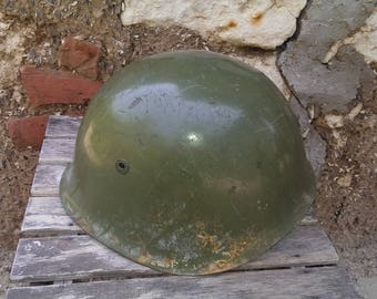 Vintage Military Helmet, Green Steel Helmet, Bulgarian Army Used Helmet, Cold War Helmet, Collectible Uniform Helmet, Gift Idea