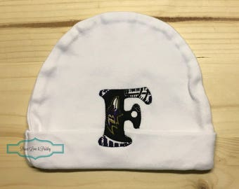 Baltimore Ravens Baby Hat Made from Baltimore Ravens Fabric, Ravens Baby, Baby Ravens, Baby Shower Gift, New Baby Gift, New Dad Gift