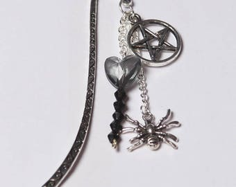 Metal Bookmark Witchy Gothic Themed with Spider and Wiccan Star