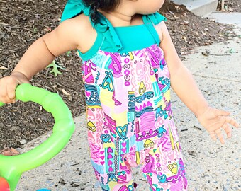 Baby girl neon abstract hearts jumpsuit // Made to order