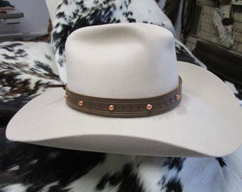 Leather Hatband,  Tooled Brown Leather Hatband with Brite Copper Dome Spots and Adjustable Lace Tie , SASS Hat Band