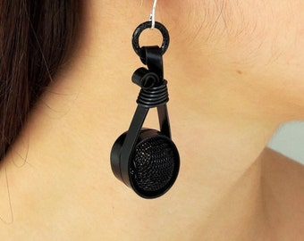 Earrings, Aluminum earrings, Anodized aluminum, Egst, Handmade, Crafting, Aluminum jewelry, Modern earrings,  Silver hanging, Made in Greece