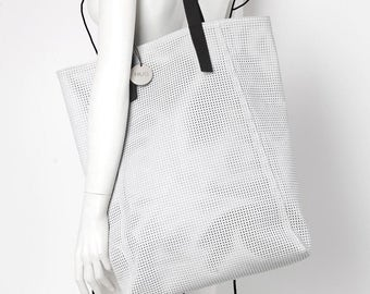 Leather perforated white shoulder tote bag