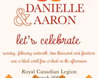 Custom Engagement Wedding Invitation - Chevron Wedding Rings Design You Print 5x7