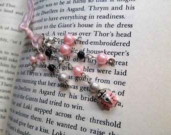 Pink Ladybug Bookmark Beaded Ribbon Book Thong Girly Bug Sweet Ladybird