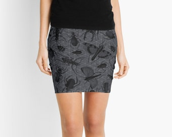 Creepy Crawly (Insects Pattern) - Pencil Skirt - Death's Amore Clothing - From XXS to XXL