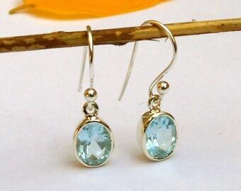 Blue Topaz Earrings, 925 Sterling Silver, Gemstone Earrings, Birthstone Jewelry, topaz jewelry blue topaz drop earrings, Blue Dangle earring