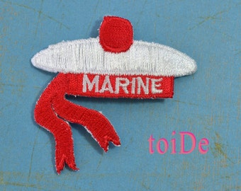MARINE Sailor hat barrette applique  - White and Red - Embroidered