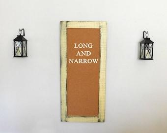 Long Skinny FRAMED CORK BOARD - Message Center - Memo Board - Pin Board in Soft Gold - 24 x 54 - Office Cork Board - Many Color Options