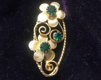 Vintage Gold Tone and Emerald Green Rhinestone Brooch Pin