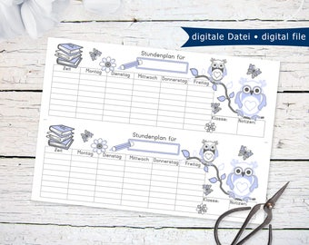 Back To School Schedule with blue owls   printable PDF instant download last minute gift idea for first day of school