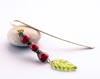 Red Ladybug Bookmark - Lampwork Lady Bug Beads, Green Glass Leaf , Gold Plated Steel Hook Book Mark, Journal Accessory