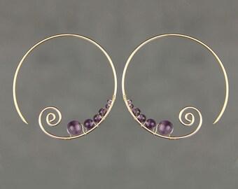 14k Gold filled améthyste câblage défilement hoop boucles d'oreilles fait à la main US freeshipping Anni Designs