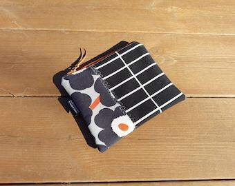 Waterproof zipper pouch from Marimekko fabric mini Unikko Tilliskivi, Scandinavian small cosmetic makeup bag, medicine pouch, travel wallet