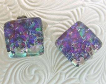 Waterlily Clip On Earrings, Fused Glass Jewelry from North Carolina