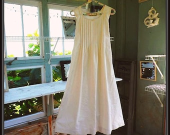Handmade XS-XXL-,Nilla Bean,Women's Sleeveless Cotton Nightgown, Vintage Percale,  PinTucked, Waltz Length, Vintage Inspired