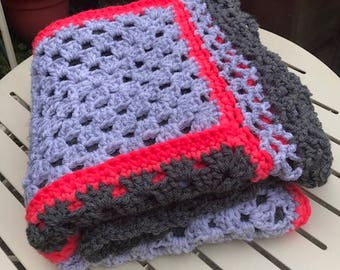 Grey and pink afghan blanket// hand crochet //throw.
