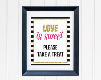 Love is Sweet Take A Treat Printable - Black and White Striped -  Inspired Wedding, Engagement, Bridal Shower, Bachelorette Party
