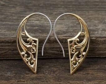 Brass Tribal Earrings - Statement Earrings - Fake Gauge Earrings - Modern Jewelry - Art Nouveau - (B146)