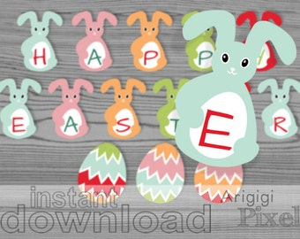 Happy Easter printable bunny banner,  Egg Hunt party bunting , Bunny and Eggs, spring, Easter party decoration, instant download PDF files