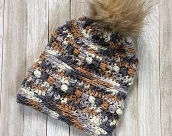 CROCHET PATTERN | Sticks & Stones Beanie | Winter Hat | Faux Fur Pom Pom | Hat Pattern