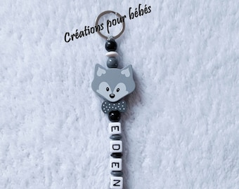 """Keychain """"Fox"""" with wooden beads with the name of your choice"""