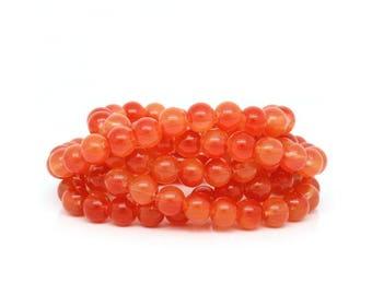 10 pearls 8mm red glass orange set M02432