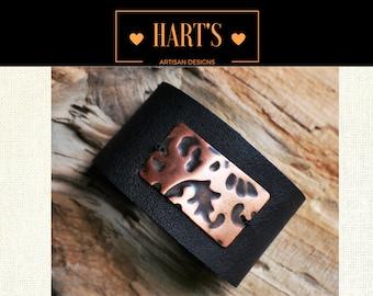 Artisan Black Leather Cuff Bracelet