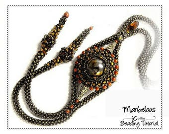 Beading Pattern, Cubic Right Angle Weave, CRAW, Lariat with Marble Focal Beading Instructions, DIY Beaded Jewelry Beading Tutorial MARBELOUS