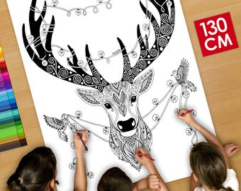 GIANT Coloring poster (50 inches)  Christmas reindeer