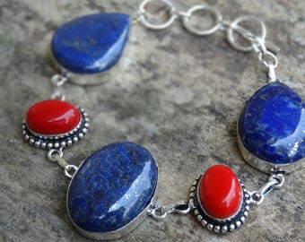 Natural Stone Blue Lapis Lazuli & Red Coral Bracelet Sterling Silver - Red Coral Bracelet - Sterling Silver - Natural Stone Bracelet -
