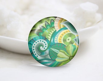 Handmade Round Floral Photo Glass Cabochons (P3740)