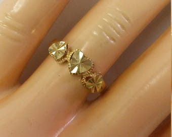 Size 7 Estate 14k Yellow Gold Baby Ring Heart Band Triple Hearts Diamond Cut Nugget GS1600
