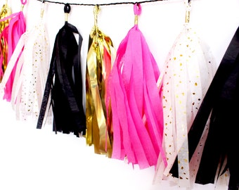 Pink, Black, Gold, and White with Gold Flakes Tassel Garland |  Tassel Banner | Bridal Shower Decor | Birthday Party Decor | Party Supplies