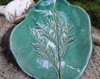 Pottery Handmade Dish, Trinket Dish, Soap Dish, Small Tray, or Jewelry Dish, in Green, St Patrick'sDay