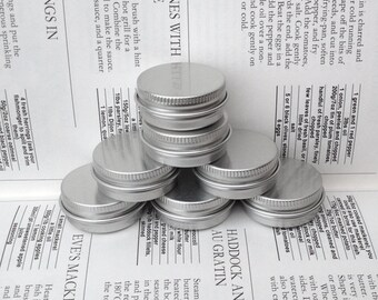 Small Metal Tins, Blank Round Silver Color, 15ml Screw Lidded (A Set Of 50 Boxes)