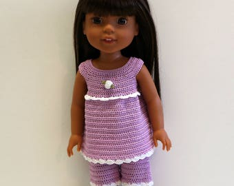 Instant Download - PDF Crochet Pattern 2 - Doll clothes - Pajamas or Top and Shorts. Fits Wellie Wishers and similar dolls.