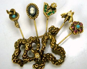 Goldette Unsigned, Victorian Gold Jeweled Pin Brooch, Snake Ribbon w Faux Hat Pins, Cameo, Rhinestone Pansy, Rose, Bee, Fancy, 1950s